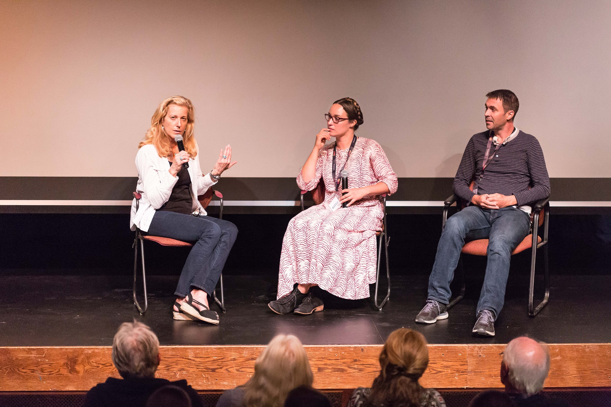 """Q&A Moderator Kate Hearst speaks with the filmmakers behind """"Approaching the Elephant"""" after its screening on Opening Night at the 2015 Festival. PC: Oliver Parini"""